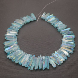 Natural Aqua AB Quartz Points Beads Rough Raw Rock Crystal Quartz Stick Points Beads Charm Pendant Top Drilled Healing Crystals Necklace