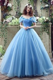 Wholesale 2016 Cinderella Graceful Ocean Blue Tulle Ball Gown Quinceanera Dresses Off Shoulder Butterflies Beaded Floor Length Prom Gowns