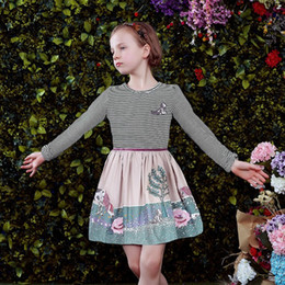 Wholesale Girl Dress Long Sleeve Autumn Brand Girls Dresses Kids Clothes Striped Embroidery Princess Dress Children Costumes Vestidos