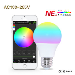 Wholesale E27 RGBW Dimmable Bulbs Bluetooth Controlled by Smartphone App LED Lights Sleeping Mode Smart Home Illumination V Lamp