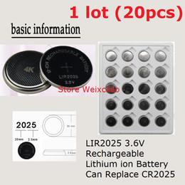 20pcs 1 lot LIR2025 3.6V Lithium li ion rechargeable button cell battery 2025 3.6 Volt li-ion coin batteries CR2025 Free Shipping