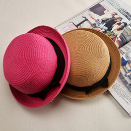 Wholesale Summer small top hat tide female British summer straw hat Pepper potts bowknot cap ceiling covered the sun beach hat