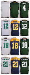 Wholesale NIK Elite Football Stitched Packers Favre Aaron Rodgers Cobb Clinton Dix Blank White Green BLue Jerseys Mix Order