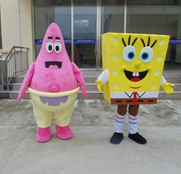 Wholesale SpongeBob SquarePants and Patrick Star Mascot Costume Hand made High Quality Cartoon Character Costume Party Supply
