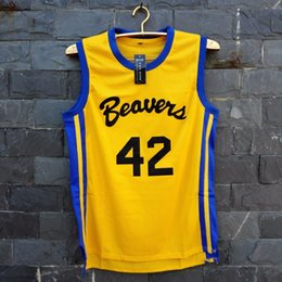 Wholesale TIM VAN STEENBERGE Movies Of Michael J Fox Teen Wolf Jersey Number Color Yellow Movie Basketball Jersey For