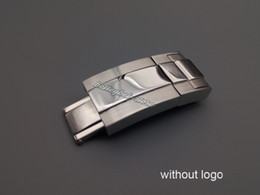Wholesale 16 mm x mm watch band fivela implantação fecho de prata polido escovado aço inoxidável de alta qualidade sem logotipo