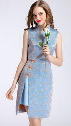 Embroidery Women Sheath Dress Sexy Split Dresses 0416041