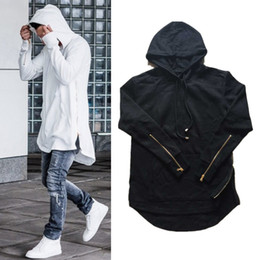 New Men's Zipper Hoodies Black White Gray Long Sleeve Pullover Cotton Hoodie Cool Hooded Long Sweatshirt Couples Hip-Hop Coats YYG1006