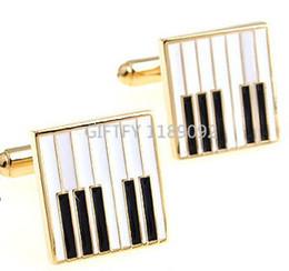 Wholesale High Grade NEW ARRIVAL Elegant Men and Women Cufflinks Glossy Music Pattern Exquisite Cuff Button Cufflink Piano Cufflink