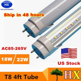 Wholesale Stock in USA ft led tube Lights T8 W W W SMD2835 foot Led Fluorescent Bulbs mm V V CE RoHS FCC