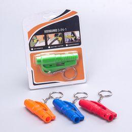 Wholesale 3 in Mini Safety Rescue Hammer Auto Bodyguard Escape Whistle Keychain Car Window Emergency Glass Breaker Seat Belt Cutter