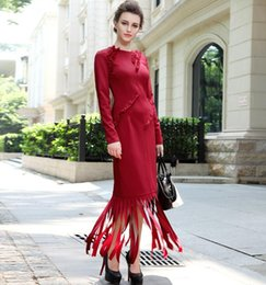 Free Shipping 2016 New Fashion Spring And Autumn One-piece Long Maxi Dress Plus Size S-3XL Long Sleeve Knitted Tassels Red Dress Hot Sale