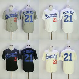 Men Puerto Rico Cangrejeros de Santurce Crabbers Jerseys Gray #21 Roberto Clemente black white Stitched University Baseball Jerseys S-4XL
