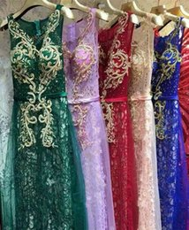 Wholesale 2016 best selling blush gold blue green purple wedding guest dresses bridesmaid dresses embroidery beaded wedding party prom dresses