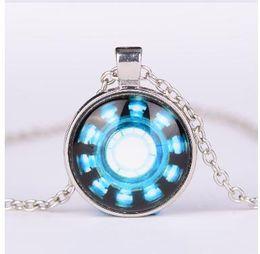 Wholesale Iron Man Arc Reactor Pendant glass Necklace Art picture Gothic glass cabochon silver choker Necklace for women men Jewelry