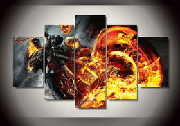5 Panel HD Printed Ghost Rider Painting Canvas Print room decor print poster picture canvas Free shipping wall pictures for living room
