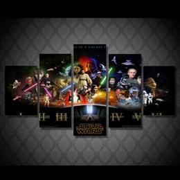 Wholesale 5 Panel Framed Printed star wars Movie Poster Group Painting Canvas Print room decor print poster picture wall art canvas