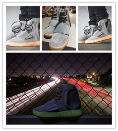 Boost 750 Light Grey Gum Glow In The Dark Kanye West Shoes Basketball Shoes Sneakers Cheap 750 Boost Men Sports Casual Boosts