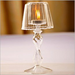Wholesale 1 pair Desk lamp modelling the adornment candlestick Creative crystal glass candlestick Festival items candleholder