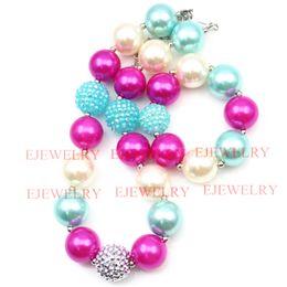 fashion jewelry hot pink white blue pearl beads silver blue rhinestone beads chunky girl bubblegum kids Necklace&bracelet set