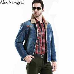 Wholesale Alex Namgyal Men S Denim Jacket Male Outwear Brand Coat Plus Velvet Thick Jean Jacket Mens Casual Jacket Plus Size XL XL