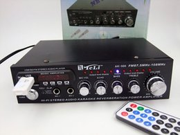 Wholesale NEW Product 220V   12V Karaoke OK With USB FM Radio Stereo Amplifier TF Card external Bluetooth Module FOR Russia