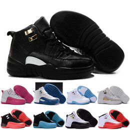 Wholesale 2016 Kids XII Retro Basketball Shoes Athletic Black Pink Colors Sports Shoes for Boys Girls Retros Snakers Shoes With Boxes