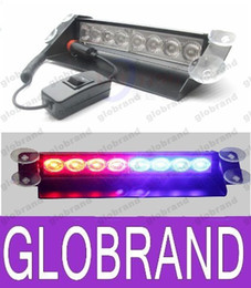 Wholesale Suction Cup Car Lights - 8 LED High Power Strobe Lights with Suction Cups & Fireman Flashing Emergency Car Truck Light 8 LED Car Strobe Warning Tow Dash Light GLO370
