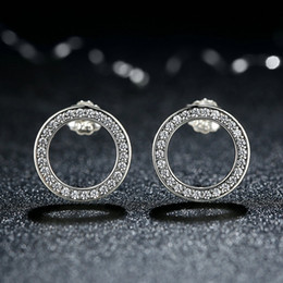Forever Genuine 925 Sterling Silver Earrings Circle Push Back Femme Stud Earrings Clear CZ Fashion Party Jewelry ER042