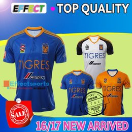 Wholesale 2016 NEW Tigres UANL soccer jerseys thai quality Mexico club Maillot De Foot Home yellow away blue white GIGNAC football shirts