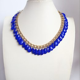 Free Shipping Cute New Fashion Sweet Brigh Blue Teardrop Choker Fashion Design Beaded Necklace, Hot Selling Women Simple Design Necklace
