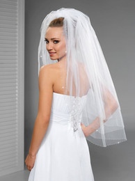 New Hight Quality Three Layer White Ivory Champagne Wedding Veil Fingertip Length Bridal Veil Beaded Edge With comb 107