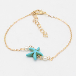 Wholesale 2016 summer in Europe and America pop beach accessories Turquoise sea pearl contracted anklets