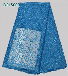 Wholesale Fashion African french lace fabric with sequins Swiss yarn lace material Wedding Decoration DPL50