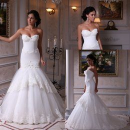 Custom Made Mermaid Sweetheart Wedding Dresses Chapel Train Ivory Tulle Lace Appliques Bridal Wedding Gowns With Lace Up Low Price