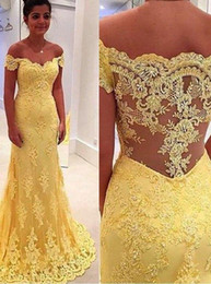 2016 Long Mermaid Prom Dress Gorgeous Off-the-shoulder Illusion Back Lace Appliques Sweep Train Yellow Plus Size Prom Dress Cheap Dress