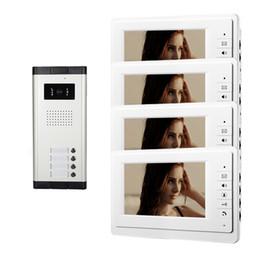 Systèmes d'interphone de portier vidéo en Ligne-Xinsilu Appartement 4 Unité Interphone Système de porte d'entrée filaire Video Phone Audio Visuel 7 pouces blanc Moniteur V70F-520C-4