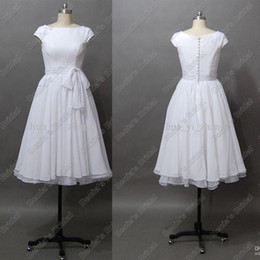 Destination Wedding Dresses Vintage 50s' A Line Tea Length with Short Cap Sleeves Bateau Chiffon Real Beach Bridal Dress