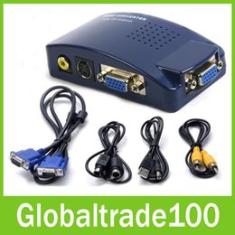 Wholesale VGA to AV RCA Converter Adapter Switch Box For PC Laptop TV Monitor S video Signal Supports NTSC PAL System