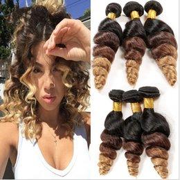 2017 27 bouclés ombre Le plus récent 9A Ombre Peruvian Loose Wave Cheveux 3Pcs Lot Trois Tone Couleur 1B / 4/27 Brown Blonde Ombre Loose Bouclés Cheveux Extensions 27 bouclés ombre offres
