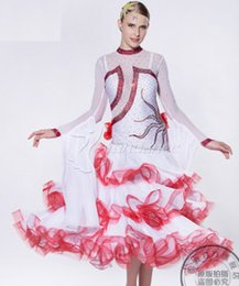 back cut out white red patchwork long sleeve ballroom Waltz tango salsa Quick step competition dress one shoulder cutout