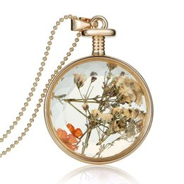 Women Dried Flower Locket Inside Pendant Necklaces jewelry free shipping 2015 Popular Gold Plated Round Glass Locket Necklace