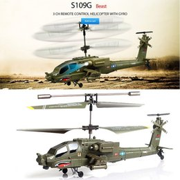 Wholesale Syma S109G CH Mini Infrared Apache Shark Remote Control Toys Radio RC Helicopter AH Military Model RTF kid toys With light