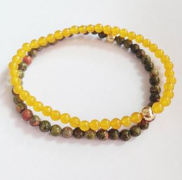 SN0145 Jewelry Type beads Seed Loose Beads Material bracelet set Men unakite and yellow stone bracelet