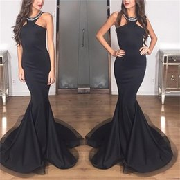 2018 Evening Dresses Halter Neck vestidos de noiva Mermaid Long Prom Gowns with Sleeveless pleats Floor length Satin Fabric