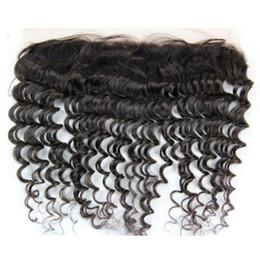 """18 black hair à vendre-Poils malaisiens cheveux humains 150% Densité Deep Wave Virgin cheveux dentelle frontale fermeture 8-24inch 13x4 """"oreille à la fermeture dentelle oreille pour les femmes noires"""