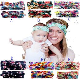 Wholesale Hot Mommy and me Matching Headbands Photo Prop Gift for Mom and Baby Adult And Baby Rabbit Ears Elastic Cloth Bowknot Headband