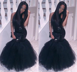 2018 New Cheap Black Long Mermaid 2k18 Prom Dresses Sequins Sparkle Halter Backless Long Plus Size Formal Party Gowns Evening Dress Vestios