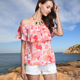 2016 fashion women tanks off shoulder shirt lady sexy beach camis floral printing tops summer short sleeve pullover