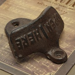 Wholesale Rustic Cast Iron OPEN HERE Wall Mounted Beer Bottle Opener Soda